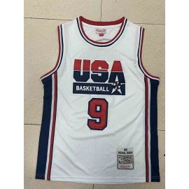 Camiseta Michael Jordan #9 USA 1992 Dream Team Blanco