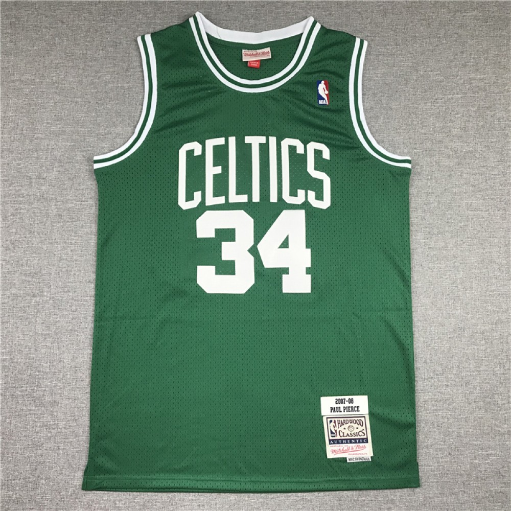 Camiseta Paul Pierce #34 Boston Celtics 2007/08 Verde Hardwood Classics