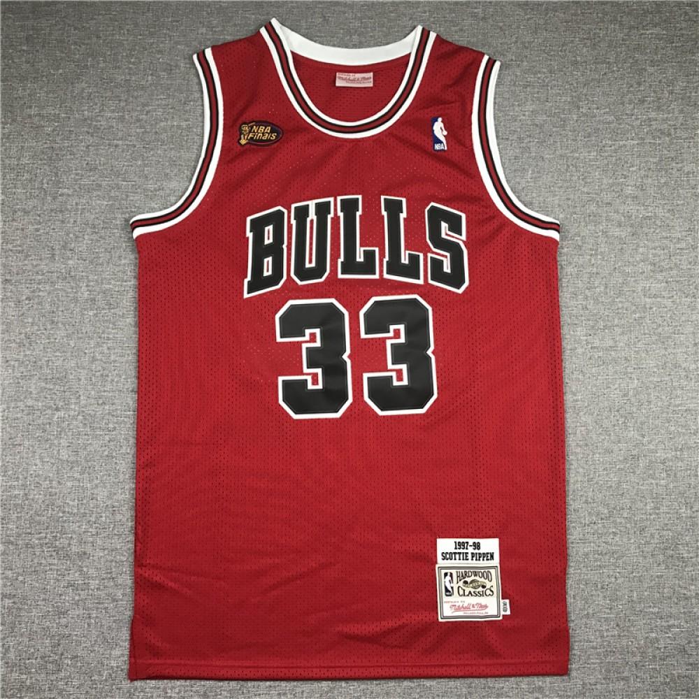 Camiseta Scottie Pippen #33 Chicago Bulls Rojo La Final