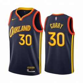 Camiseta Stephen Curry #30 Golden State Warriors 2021 Azul Marino City Edition