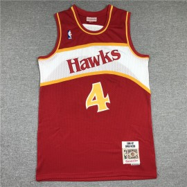 Camiseta Chris Webber #4 Atlanta Hawks Retro Rojo