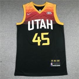 Camiseta Donovan Mitchell #45 Utah Jazz Negro City Edition