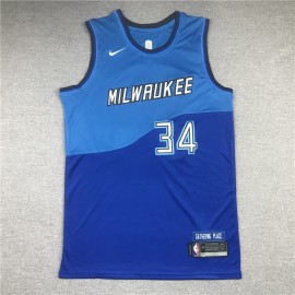 Camiseta Giannis Antetokounmpo #34 Milwaukee Bucks 2021 Azul City Edition