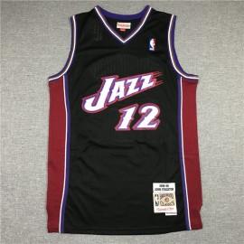 Camiseta John Stockton #12 Utah Jazz Retro Negro