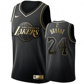 Camiseta Kobe Bryant #24 Los Angeles Lakers Oro Negro