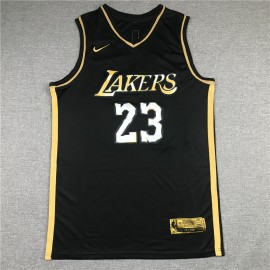 Camiseta LeBron James #23 Los Angeles Lakers 2021 Oro Negro