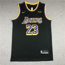 Camiseta LeBron James #23 Los Angeles Lakers Negro Earned Edition