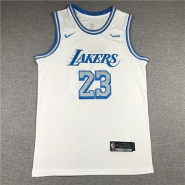 Camiseta LeBron James #23 Los Angeles Lakers Blanco City Edition