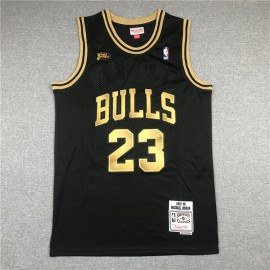 Camiseta Michael Jordan #23 Chicago Bulls Retro Oro Negro La Final
