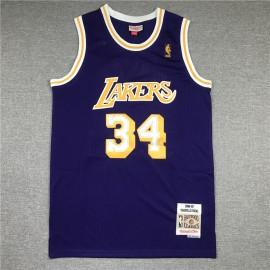 Camiseta Shaquille O'Neal #34 Los Angeles Lakers Púrpura Etiqueta de Oro
