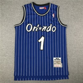Camiseta Tracy McGrady #1 Orlando Magic Raya Azul Blanco Icon Clásico