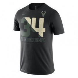 Camiseta Giannis Antetokounmpo #34 Milwaukee Bucks Negro